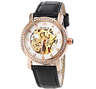 Women's Automatic Self Wind Hollow Engraving Leather Band Wrist Watch(Assorted Colors)