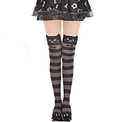 Socks/Stockings Sweet Lolita Lolita Princess Black / Gray Lolita Accessories Stockings Striped For Women Velvet