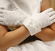 Wrist Length Fingertips Glove - Satin Flower Girl Gloves