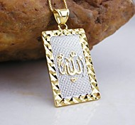 18k ouro banhado allah muçulmano pingente quadrado