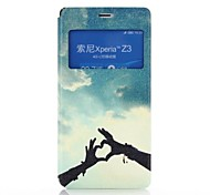 Hands of Love Pattern PU Leather Case with Stand and Card Slot for Sony Z3 L55T