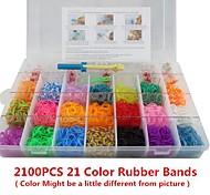 Rainbow Color Fashion Loom Kit for DIY Bracelet(2100PCS Bands+4 Package Clips+1 Loom Board+3 Hook)