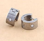 Fashion Stainless Steel Rhinestone Earrings Random Color
