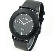 cadran rond montre-bracelet PU bande de quartz des hommes