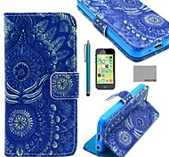 COCO FUN® Blue Tribal Pattern PU Leather Full Body Case with Screen Protector for iPhone 5C