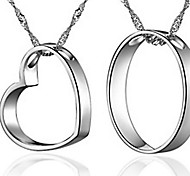 Casal colar de impressão coração 925 feminino (um par de venda)