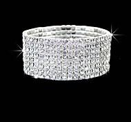 Fashion 7cm Women's Stretch Eight Row Rhinestone Alloy Bracelet(Silver)(1pcs)