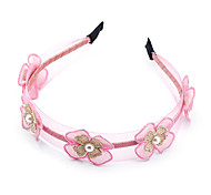 1PC Korean Flowers and Pearls Lace Headband(Random Color)