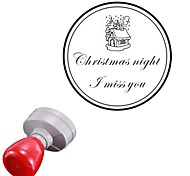 Personalized 42x42mm Christmas Santa Claus Cabin 2 Lines Round Engraved Photosensitive Signet Stamp(15 Letters)