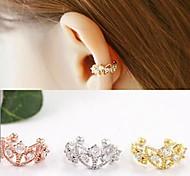 punhos europeu liga coroa oca de ouvido (ouro, prata, rosa) (1pc)