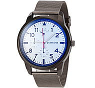 Men's Military Style Silver Steel Band Quartz Wrist Watch (Assorted Colors)