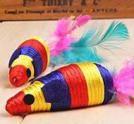 Stripe Pattern Mouse Shaped Sisal Toys with Feather Decorated for Pet Dogs Cats