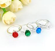 Newest Drop Blue Toaz Pink Topaz Red Quartz Green Quartz Gemstone Silver Ring 1PC