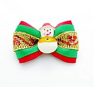 Christmas Series Multicolour Ribbon Style with Snowman Decorated Rubber Band Hair Bow for Pet Dogs