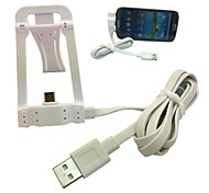 Micro Jack USB Sync Data Charge Stand Holder Cable for Samsung HTC LG Smartphone(White)