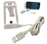 carga de datos de sincronización jack usb micro de pie cable soporte para teléfono inteligente de Samsung lg htc (blanco)