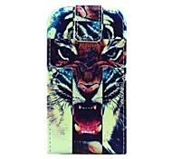 tigre abrir abierta de la PU y cuero por caso de cuerpo completo para Samsung Galaxy Ace 4 g313h