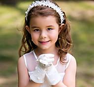 Wrist Length Fingertips Glove Satin Flower Girl Gloves