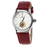 Women's Automatic Self Wind Hollow Dial Leather Band Wrist Watch (Assorted Colors)