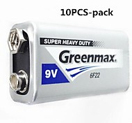 10PCS Greenmax 9V Zinc -Manganese Carbon Battery