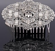 Europe Palace Style Flower Hair Comb for Wedding Party with Clear Rhinestone