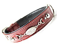 Pretty Rhinestone Genuine Leather Collar for Pets Dogs