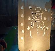 lámpara con forma de muñeco de nieve recorte de papel luminaria papel (juego de 4)
