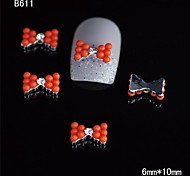 10pcs Beauty Orange Beads Bow Tie 3D Alloy Nail Rhinestone DIY Nail Art Decoration