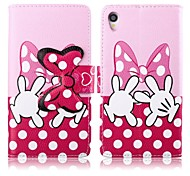 Pink Bowknot PU Leather Full Body Cover with Stand for Sony Xperia Z1 L39H