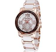 femmes en or rose céramique bande quartz montre-bracelet