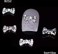 10pcs Cute Bowtie Alloy Rhinestone Nail Tips DIY Nail Art Decoration