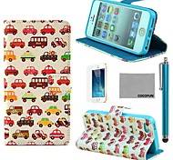 COCO FUN® Small Car Pattern PU Leather Full Body Case with Film and Stand and Stylus for iPhone 5/5S