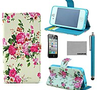 COCO FUN® Vintage Flower Pattern PU Leather Full Body Case with Screen Protector, Stand and Stylus for iPhone 4/4S