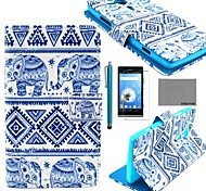 COCO FUN® Blue Elephant Pattern PU Leather Case with Screen Protector and Stylus for Sony Xperia SP  M35h