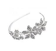 prata banhado flores de strass headband tiara partido faixa de cabelo prom