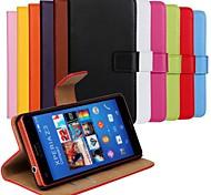 color sólido de cuero genuino caso de cuerpo completo con soporte y ranura para tarjeta para xperia sony z3 mini-compactos / z3 (colores