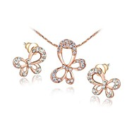 Simple Style 18K Rose Gold Plated Clear Austria Crystal Butterfly Pendant Necklace Earrings Set