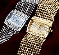 Women's Elegant Diamante Square Dial Steel Band Quartz Wrist Watch (Assorted Colors) Cool Watches Unique Watches