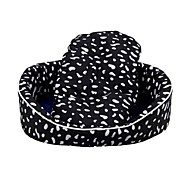 Warm and comfortable milk flower pattern woven cloth Dog Kennel(Black)