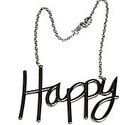 Fashion Happy Sign Black Gun Metal Women Necklace