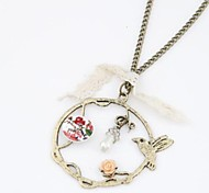 Z&X®  Vintage European Style Bird And Flower Pendant Long Necklace
