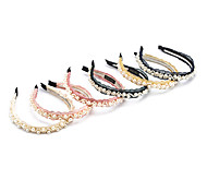 1PC Korean Pearl and Lace Wavy Headband(Random Color)
