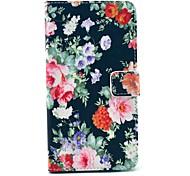 rose noire motif de fleur PU étui en cuir avec porte-cartes de support pour Samsung Galaxy Note 4