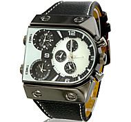 Men's Watch Military Three Time Zones PU Band