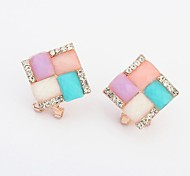 Women's Elegant Rhinestone Squres Cluster Stud Earrings