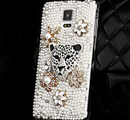 LUXURY Fully Jelly Diamonds Crystal Pearl Leopard Head Back Cover Case for SAMSUNG Galaxy NOTE 4