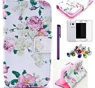 bel modello di fiore rosa pu custodia in pelle con la protezione dello schermo, stilo e spina della polvere per Samsung Galaxy Ace 4 g313h