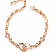 Noble 18K Rose Gold Plated Austria Crystal Simulated Diamond Heart Bracelet