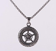 Z&X®  Punk Vintage Wheel Titanium Steel Pendant Men's Necklace