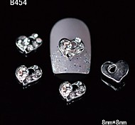 10pcs Beauty Unique Heart 3D Alloy Nail Design Rhinestone DIY Nail Art Decoration